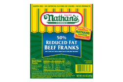 Nathan's Famous 50% hot dogs