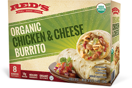 Red's organic chicken and cheese burrito