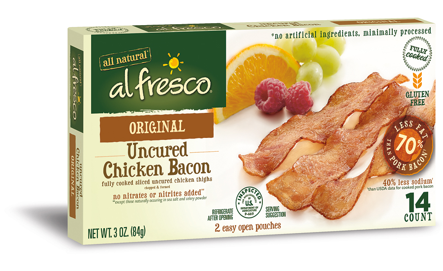 Uncured Fully Cooked Chicken Bacon 2015 12 23 Refrigerated