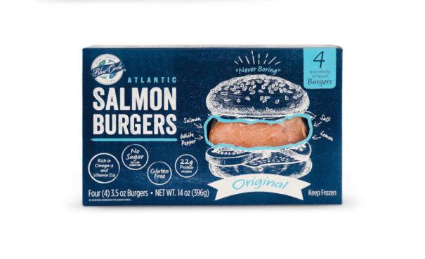 Frozen Atlantic Salmon Burgers DTC Blue Circle Foods Package
