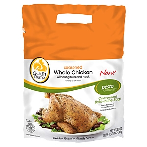 Goldn Plump seasoned whole chicken